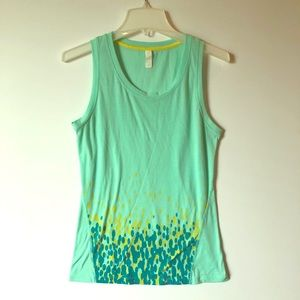 LUCY Sleeveless Green Graphic Cotton TANK TOP S
